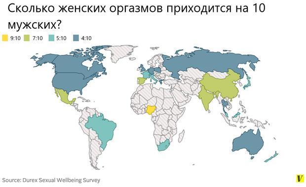 Фото №3 - Карта: Сколько женских оргазмов приходится на 10 мужских в разных странах мира?