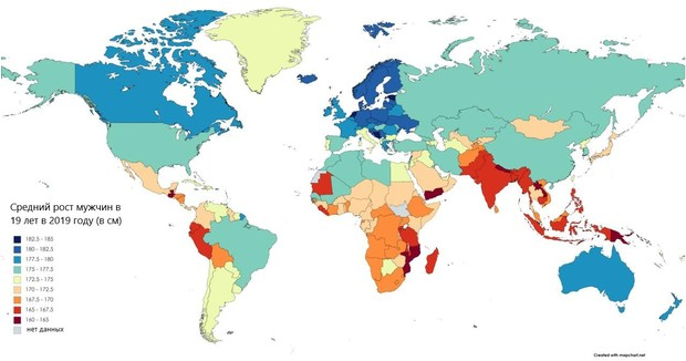 Фото №2 - Карта: средний рост мужчин в разных странах мира. Как думаешь, Россия— страна карликов или великанов?