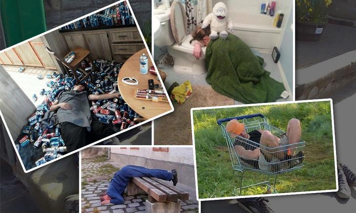 Фото №1 - Самые смешные фото пьяных граждан со всего мира, заснувших в нелепых позах. Часть II