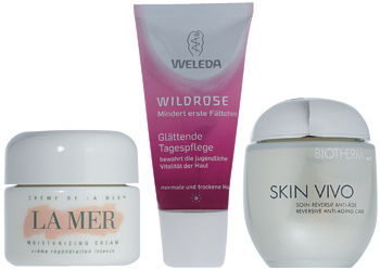 Creme de la Mer, LA MER; Wildrose, WELEDA; Skin Vivo, BIOTHERM.