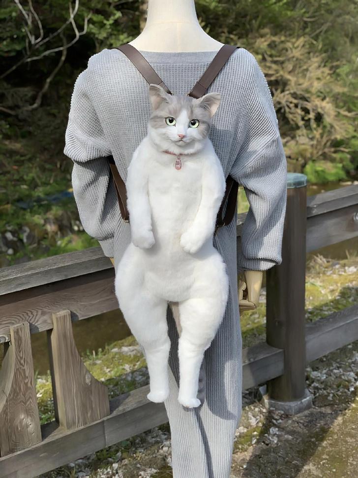 Фото №1 - В Японии создали рюкзак в виде абсолютно натурального кота