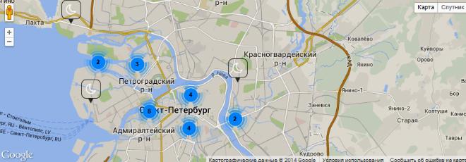 Интерактивная карта на сайте petersbike.ru