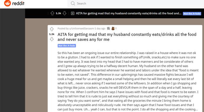 «Муж съедает всю еду в доме, и это разрушает наши отношения»