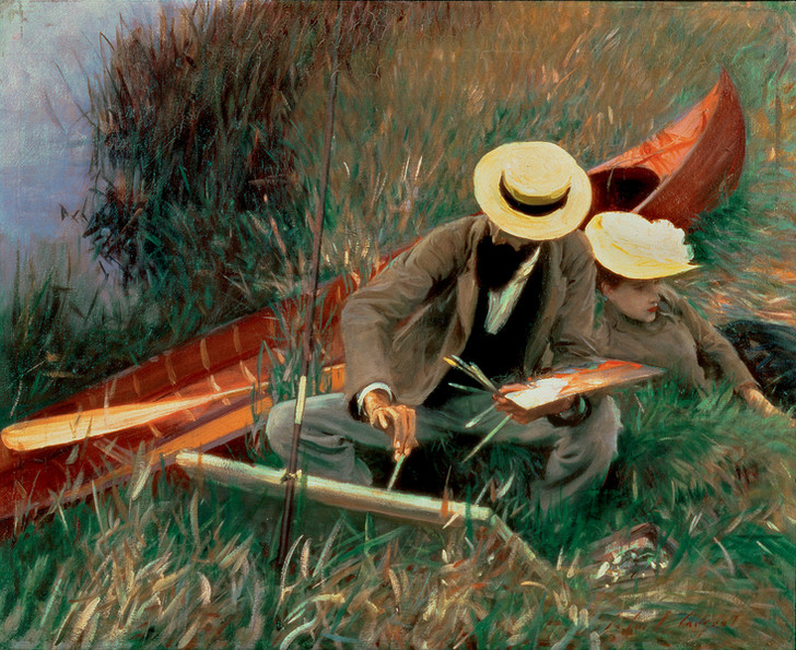 Джон Сингер Сарджент «Пол Хеллеу с женой за рисованием», 1889 год