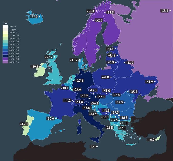 Фото №1 - Карта: самые низкие температуры в Европе