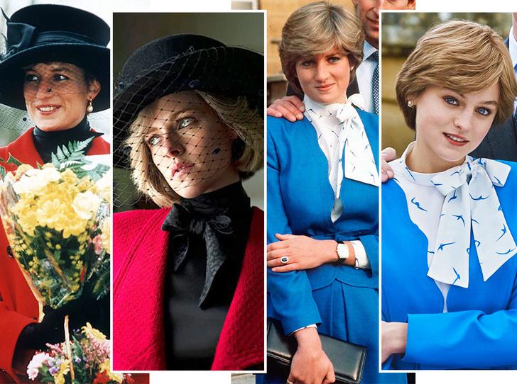 Фото №1 - Оригинал и копия: культовые наряды принцессы Дианы, которые повторили в кино