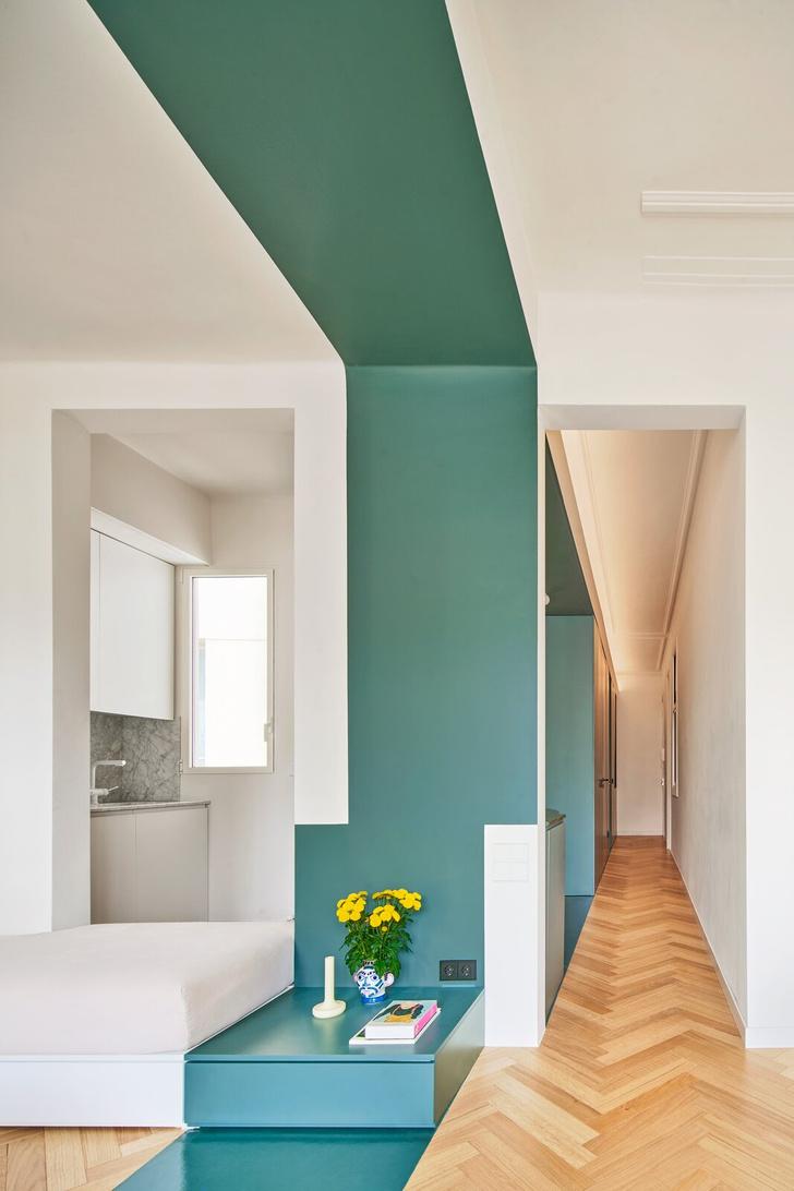 Фото №2 - Квартира с зеленой перегородкой в Барселоне