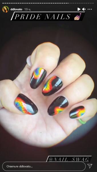 Фото №2 - Маникюр, вдохновленный Pink Floyd: радужные ногти Деми Ловато 🌈