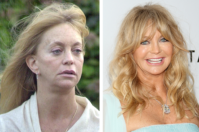Голди Хоун без макияжа