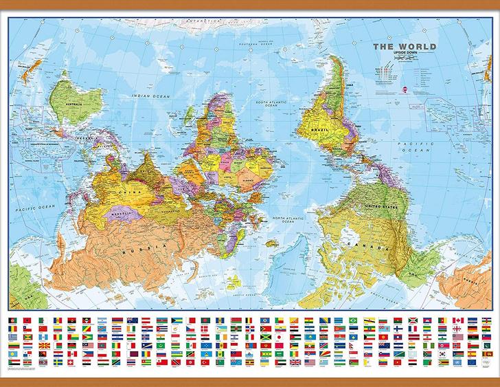 Фото №1 - Мир вверх тормашками: непривычно выглядящие географические карты