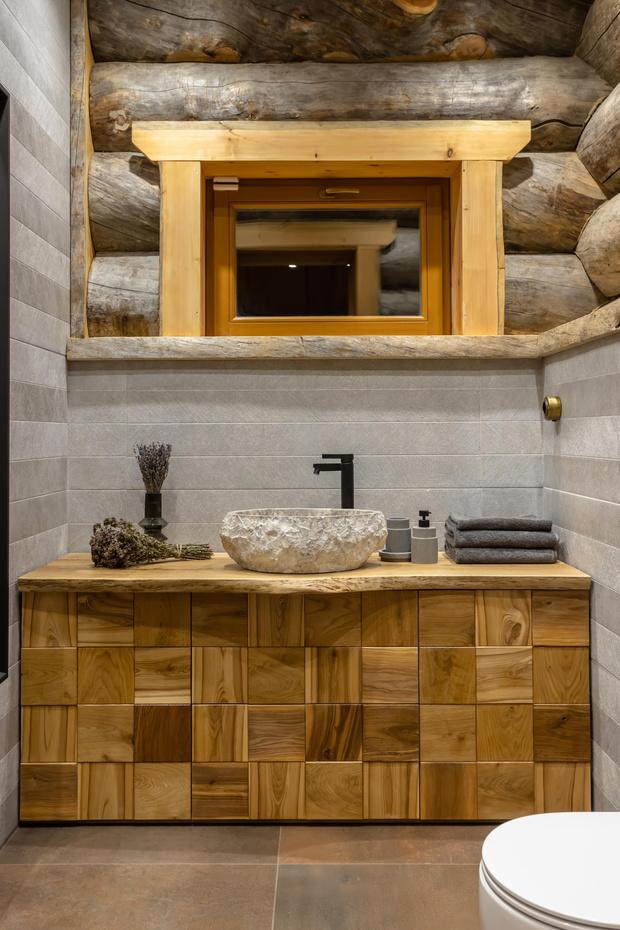 Фото №14 - Деревянная баня с высокотехнологичным дизайном в Подмосковье