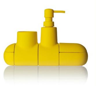 Контейнеры Submarino для аксессуаров в ванную, Seletti, магазины Design Boom; Кресло Armchair 41 petrol blue, дизайн Алвара Аалто