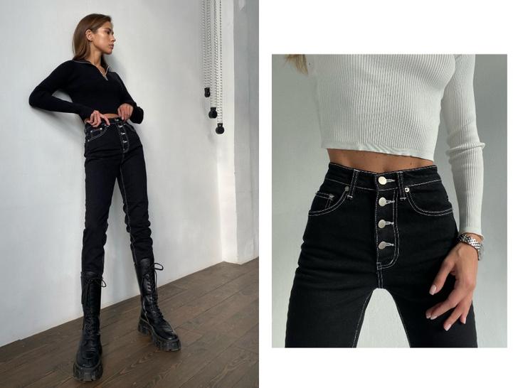 Фото №8 - Актуальные черные джинсы, которые стройнят