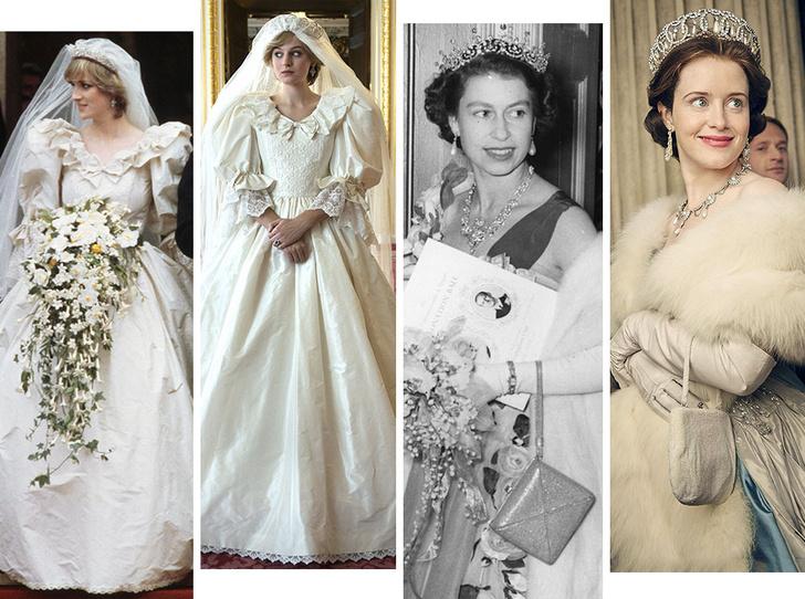 Фото №1 - От свадебных платьев до роскошных мехов: какие образы Виндзоров повторили в сериале «Корона»