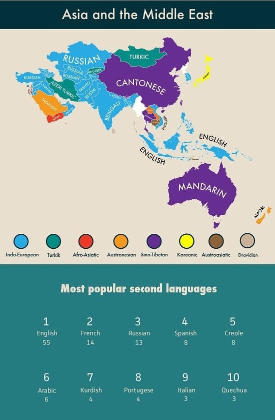 Фото №2 - Карта: второй по популярности язык в разных странах мира