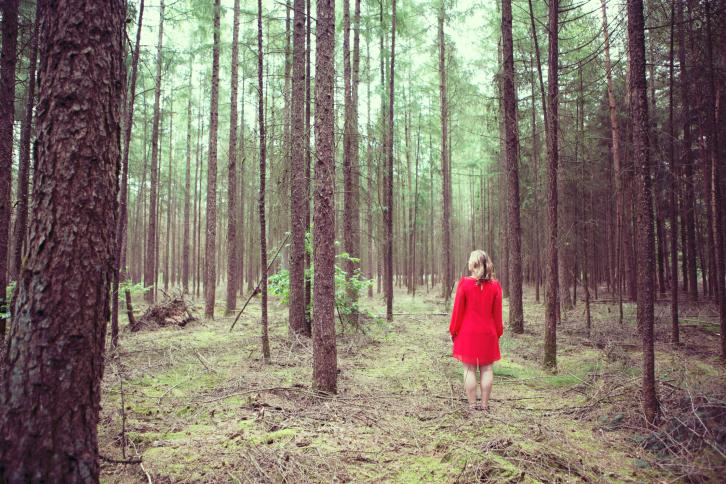 Женщина в красном платье в лесу