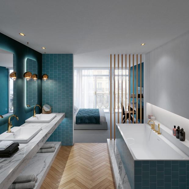 Фото №1 - Ванная комната для всей семьи: эргономичные решения