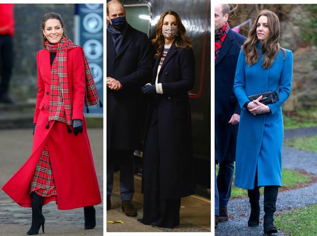 Фото №1 - Все наряды герцогини Кейт в рождественском туре по Великобритании