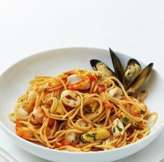 Паста с мидиями в сливках или томатном соусе