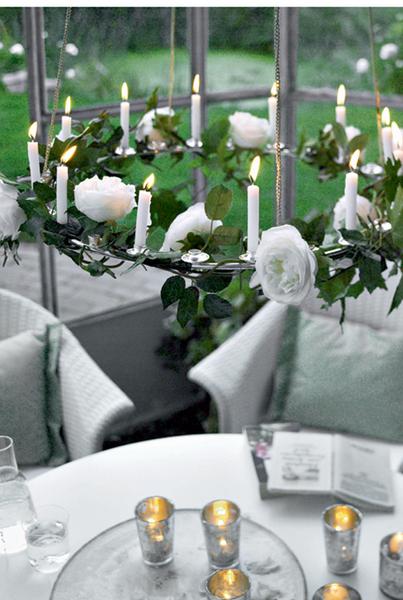 Над столом стоит повесить вот такой светильник. Летом основу из проволоки можно оплести розами или другими цветами. А осенью их сменит венок из кленовых листьев. Единственное условие: расстояние между светильником со свечами и окружающими предметами должно быть не менее полуметра.