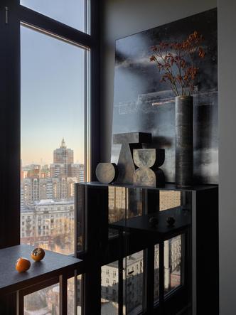 Фото №6 - Квартира в темных оттенках с видом на Москву