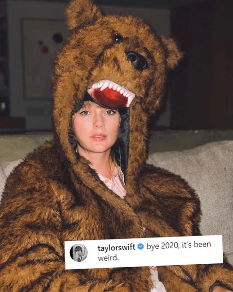 Фото №1 - Эльф Белла Хадид и Тейлор Свифт в медвежьей шкуре: как селебы провожали 2020-ый