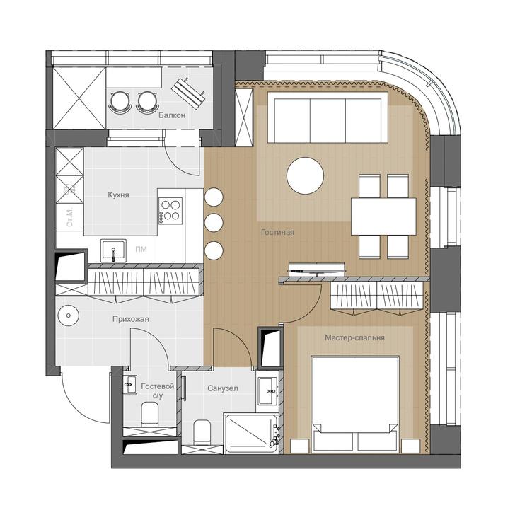Фото №16 - Монохромная квартира 57 м² для молодой пары в Москве