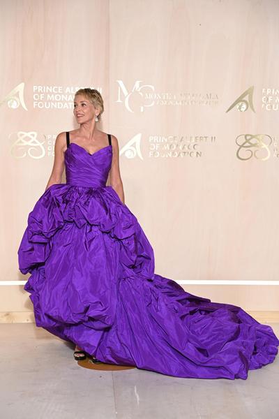 Фото №3 - Настоящая королева: Шэрон Стоун в необычном платье-одеялке очаровала князя Монако