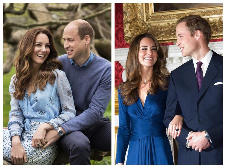 Фото №1 - Время не властно: Кейт и Уильям повторили свои культовые фото в честь годовщины свадьбы