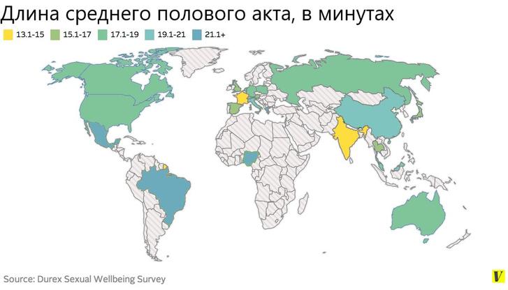 Фото №2 - Карта: сколько времени в разных странах мира длится секс?