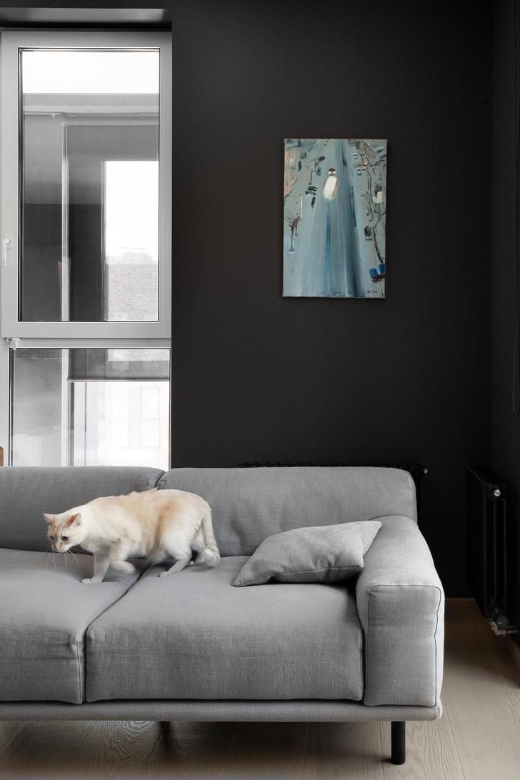 Фото №2 - Черный интерьер с теплыми терракотовыми акцентами: квартира 100 м²