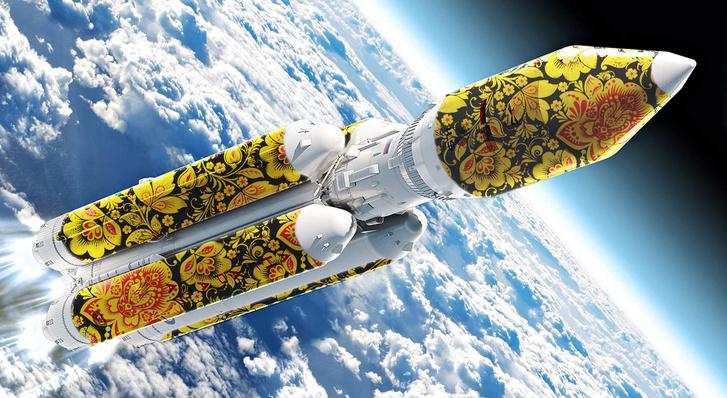 Фото №1 - Вот как выглядит ракета-носитель «Союз», расписанная под хохлому