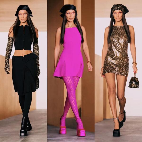 Фото №4 - Показ Versace: стройная и рыжая Джиджи, роковая Ирина и кукольная Белла