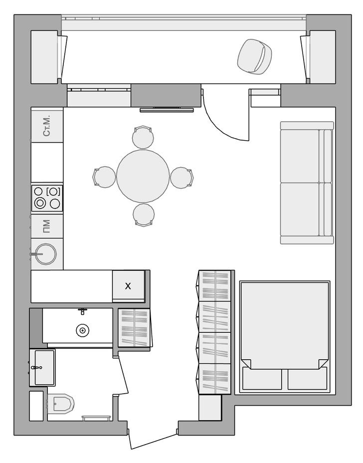 Фото №13 - Уютная маленькая квартира 34 м² в доме 1960-х годов в Москве