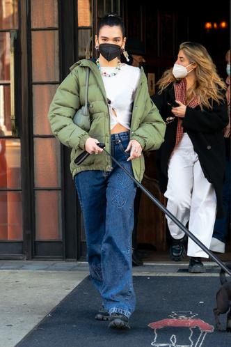 Фото №1 - Дуа Липа носит кроп-топы круглый год, но в декабре сочетает их с пуховиком