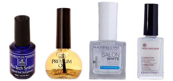 Лак для усиления роста ногтей Pro-Tech System от INM. Масло для ногтей и кутикулы Premium Cuticle Oil от INM. Отбеливающее средство от Maybelline New York. Лак-основа для гладкости и белизны ногтей от Yves Rocher.