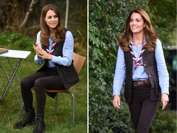Фото №1 - Голубая рубашка + узкие джинсы: удачный образ Кейт Миддлтон в стиле casual
