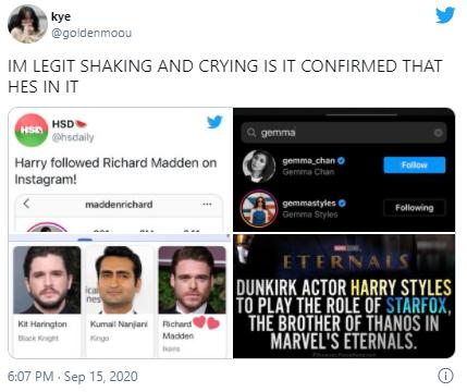 Фото №2 - Фанаты уверены, что Гарри Стайлс может появиться в фильме «Вечные» от Marvel 😲