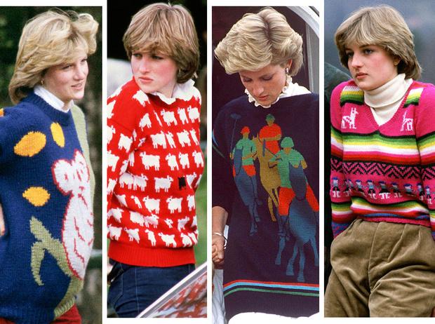 Фото №1 - От принта с «паршивой овцой» до классики: любимые свитеры принцессы Дианы