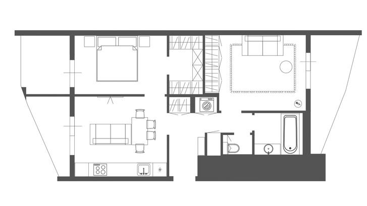 Фото №13 - Квартира 55 м² в темных тонах для молодой семьи в Подмосковье