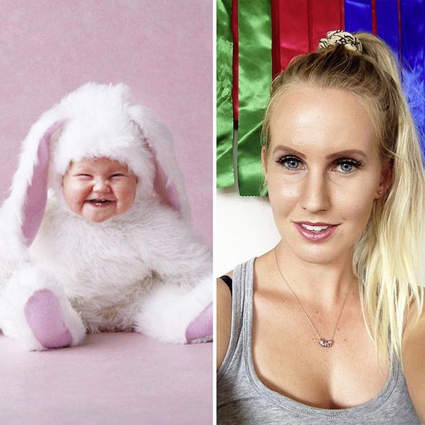 В 2017 году Анне Гедес начала собирать фотографии выросших детей, которых она снимала в младенчестве. На фото - Динна, одна из малышек в костюме кролика. Сейчас ей 24 года, она живет в Новой Зеландии и занимается конным спортом.