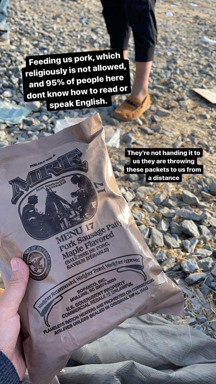 Фото №1 - «Американцы их кормят свининой!» Сухпаек для афганских беженцев
