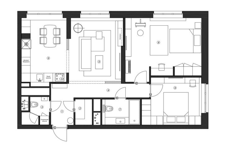 Фото №19 - Воздушная квартира 78 м² для мамы и дочки-школьницы
