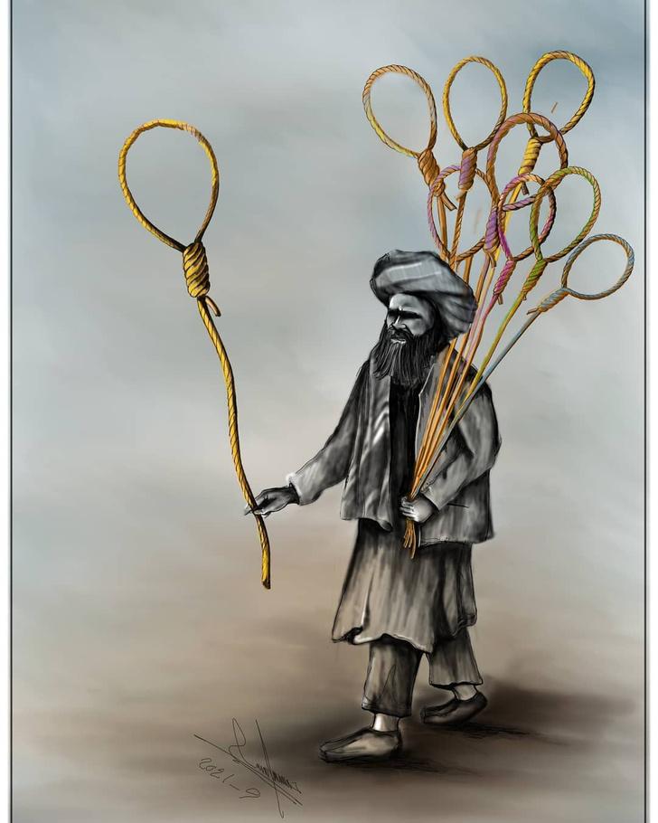 Фото №1 - Уцелевшие карикатуры афганского художника Хоссейна Резаи, чудом бежавшего от «Талибана»