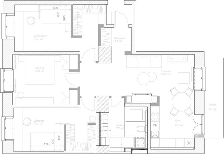 Фото №20 - Современный дизайн квартиры 100 м² в московской сталинке