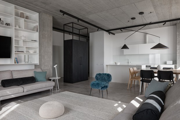Фото №1 - Бетон + яркие акценты: квартира 166 м² в Кривом Роге