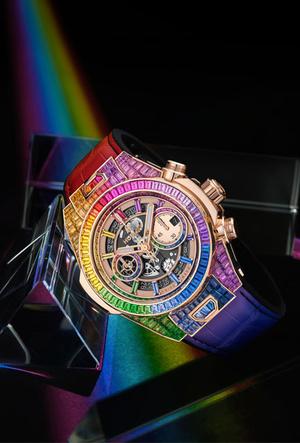 Фото №5 - Радужная новинка: Hublot представил часы Big Bang Unico Full Baguette Rainbow