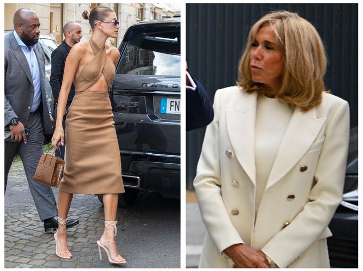 Фото №1 - Самая неожиданная (и странная) модная битва: Брижит Макрон против Хейли Бибер