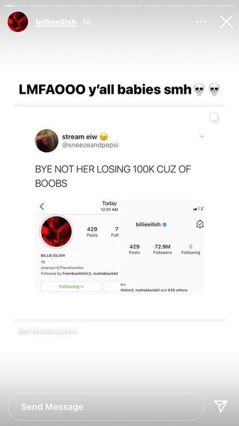 Фото №3 - Минус 100 тысяч: как Билли Айлиш потеряла подписчиков в Инстаграме