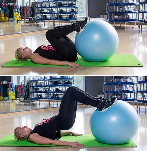 Упражнения для ягодиц - ягодичный мостик с фитболом